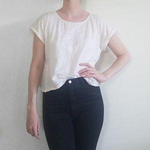 Madewell 100% Linen Rolled Cuff T-Shirt